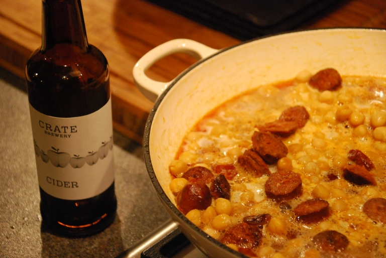 Chorizo and Chikpeas Braised in Cider 3