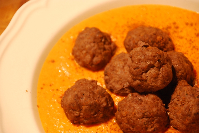 Eastern Spiced Meatballs with Fiery Tomato Soupy Sauce