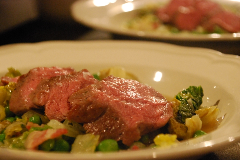 Sous Vide Lamb Loin with Braised Lettuce and a Mint, Garden Pea and Lardon Broth (3).JPG
